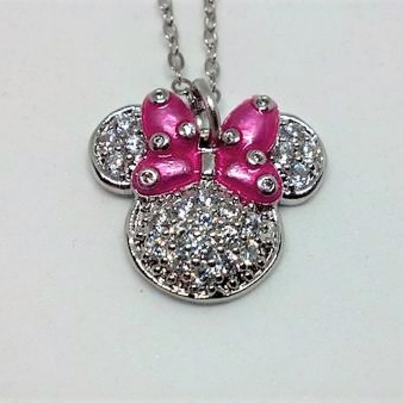5bb00380f7a75 Rhinestone Minnie Mouse Necklace - Pink Bow Boutique